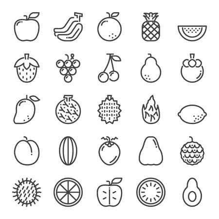 fruit pixel perfect icons, vector line editable stroke (48x48)