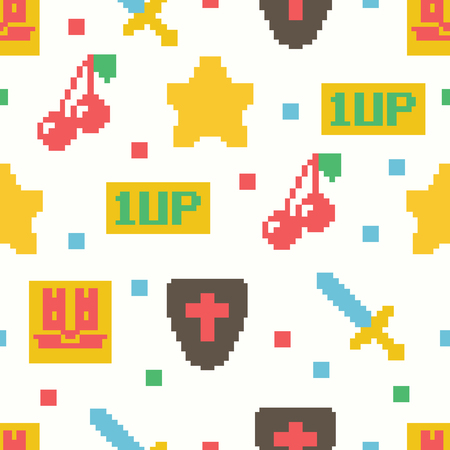 cute 8 bit game seamless pattern, vector background