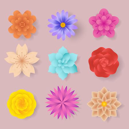 colorful flower paper cut, vector elements