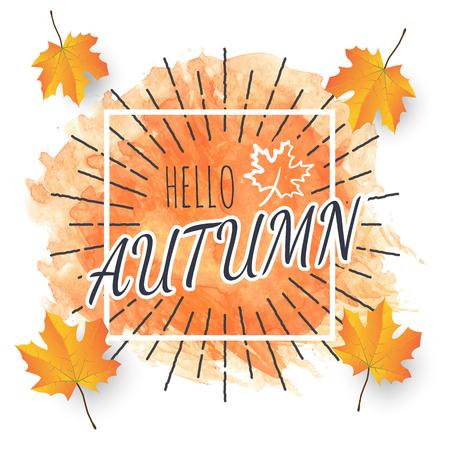 hello autumn, vector banner with autumn leaves Иллюстрация