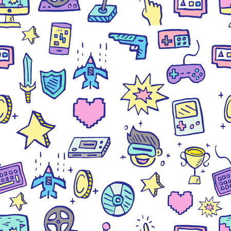 video game doodle seamless pattern, vector hand drawn style