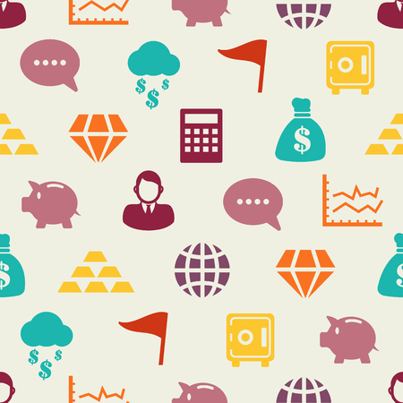 business flat icons seamless pattern, vector background Иллюстрация