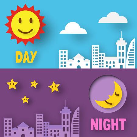 day and night paper cut, vector design Иллюстрация