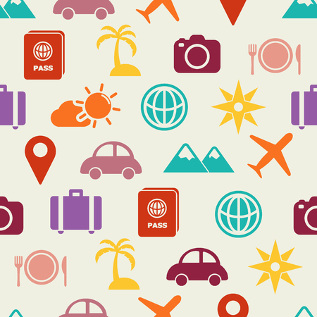 travel flat icons seamless pattern, vector background
