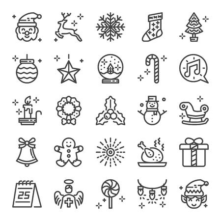 christmas pixel perfect icons, vector editable stroke (48x48)