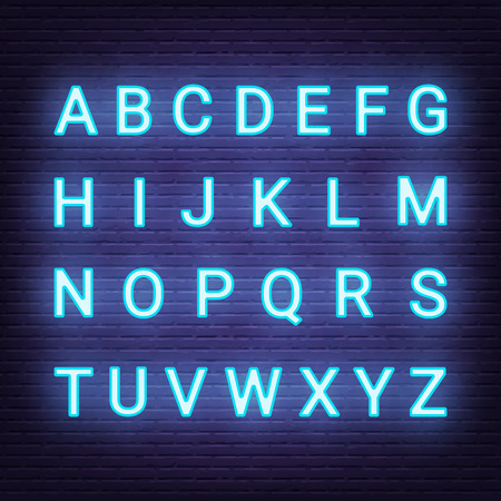 neon light letters, vector glowing blue alphabet uppercase on brick wall background