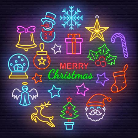 merry christmas neon icons, vector neon glow on dark background Иллюстрация