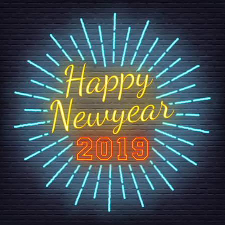 neon light happy new year, vector design on brick wall background
