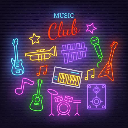 music band neon icons, vector neon glow on dark background