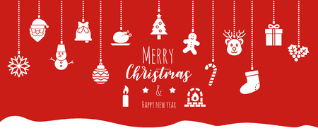 christmas banner background, vector design with hanging ornaments icons Иллюстрация