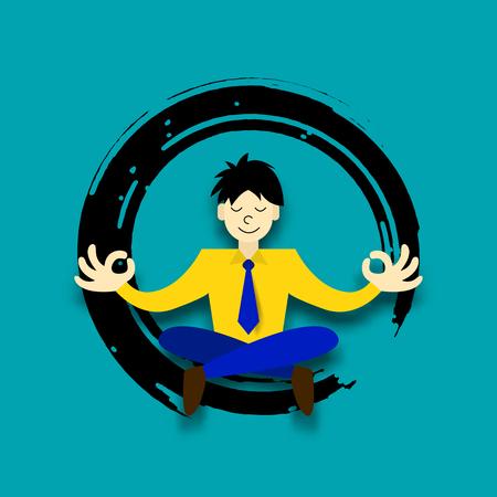 business zen, vector paper art cartoon