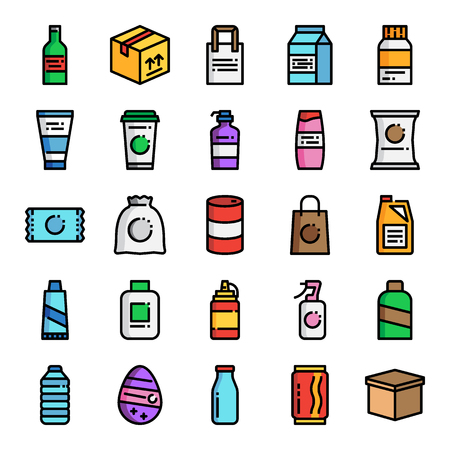 product packaging pixel perfect color line icons; vector line editable stroke Иллюстрация