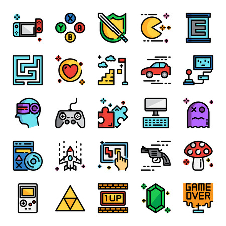 video game pixel perfect color line icons, vector line editable stroke Illustration