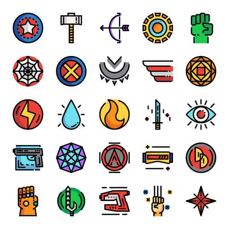 superhero pixel perfect color line icons, vector design, editable stroke