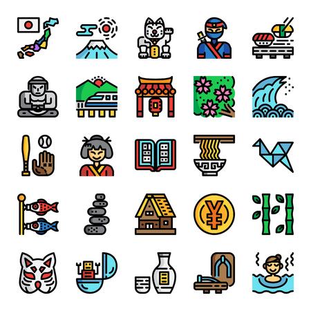 japonia piksel idealne kolorowe ikony linii, wektor edytowalny skok Ilustracje wektorowe