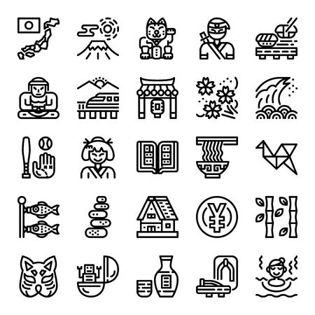 japan pixel perfect icons, vector editable stroke