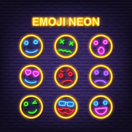 emoji neon icons, vector neon glow on dark background