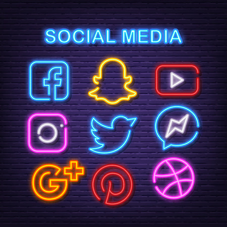 social media neon icons, vector neon glow on dark background