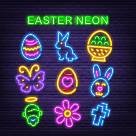 easter day neon icons, vector neon glow on dark background