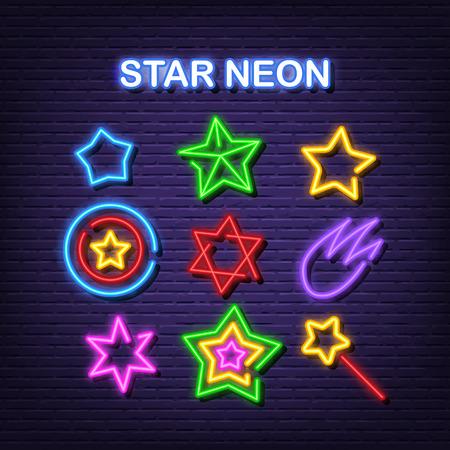star neon icons, vector neon glow on dark background