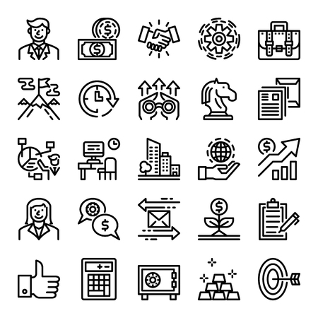 business pixel perfect icons, vecor editable stroke Иллюстрация