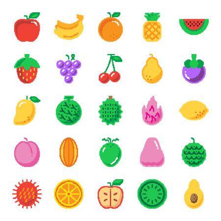 fruit pixel art icons, vector design Иллюстрация