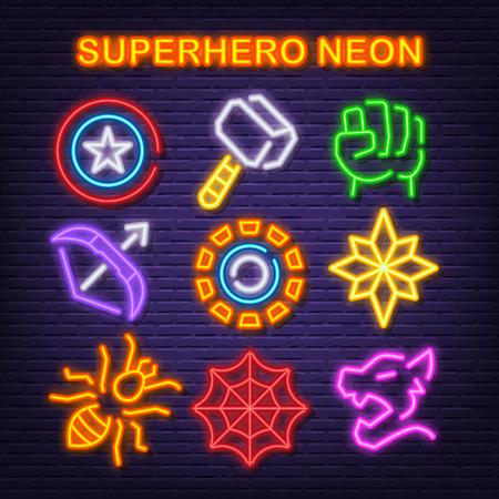 superhero neon icons, vector neon glow on dark background