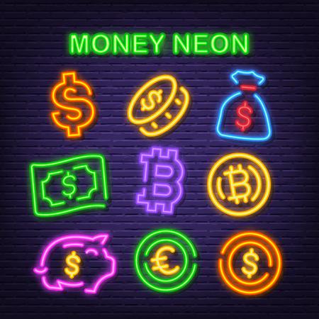money neon icons, vector neon glow on dark background