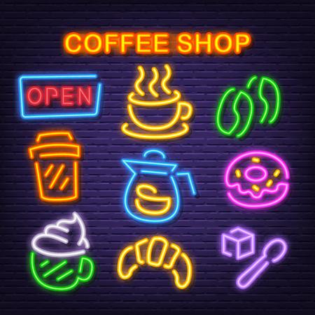 coffee shop neon icons, vector neon glow on dark background Иллюстрация