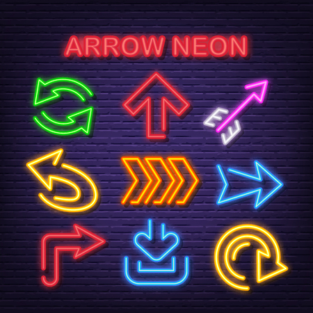 arrow neon icons, vector neon glow on dark background
