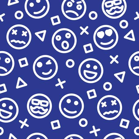 emoji outline seamless pattern, vector background Иллюстрация