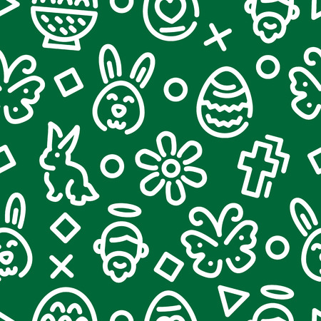 easter outline seamless pattern, vector background