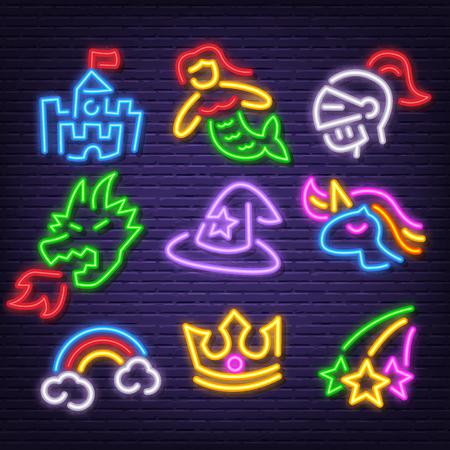 fantasy neon icons, vector neon glow on dark background