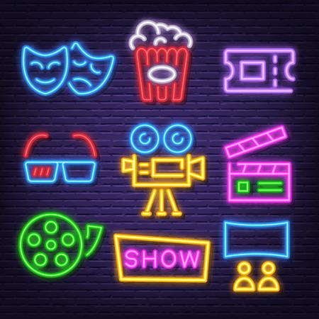movie neon icons, vector neon glow on dark background