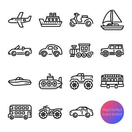 transportation outline icons, vector pixel perfect design Иллюстрация