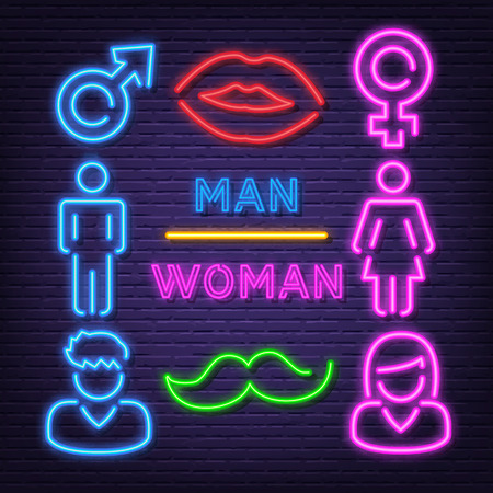 man and woman neon icons, vector neon glow on dark background Иллюстрация
