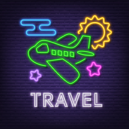 travel neon signboard, vector neon glow on dark background