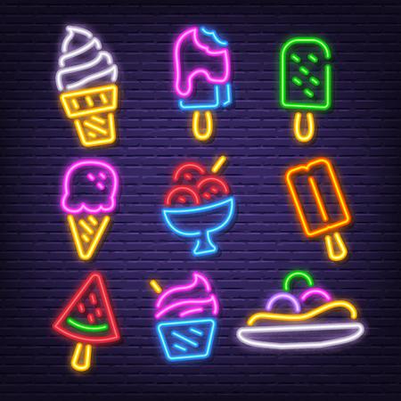 icônes de néon de crème glacée, lueur de néon de vecteur sur fond sombre Vecteurs