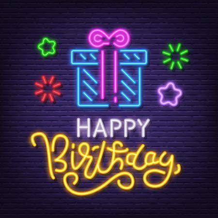 happy birthday neon signboard, vector neon glow on dark background Иллюстрация