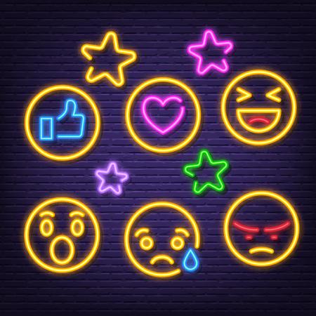 social feedback neon icons, vector neon glow on dark background