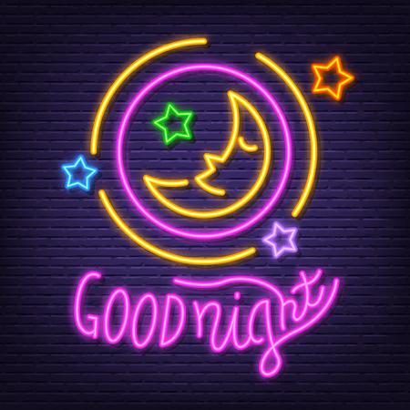 good night neon signboard, vector neon glow on dark background Иллюстрация