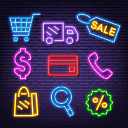 shopping neon icons, vector neon glow on dark background