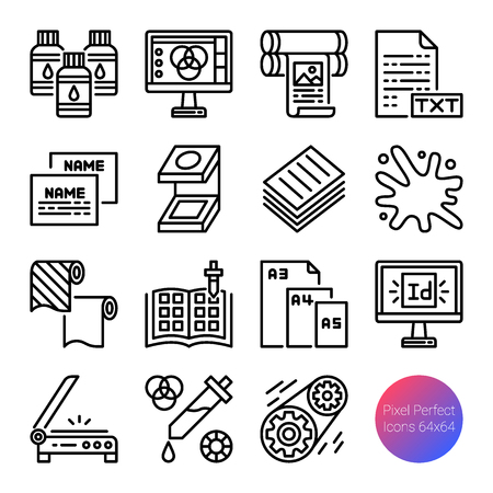 printing outline icons, vector pixel perfect design, editable stroke