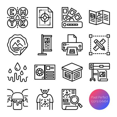 printing outline icons, vector pixel perfect design, editable stroke Иллюстрация