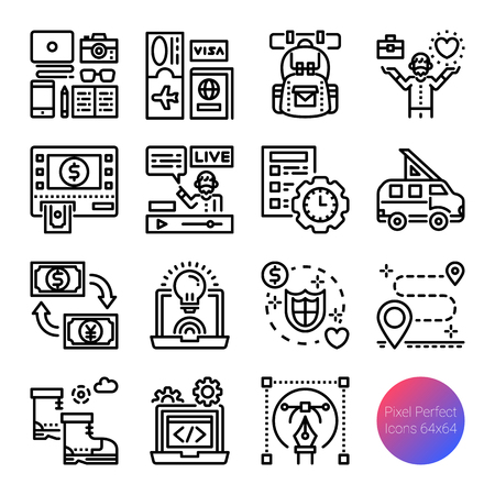 digital nomad outline icons, vector pixel perfect design, editable stroke Ilustrace