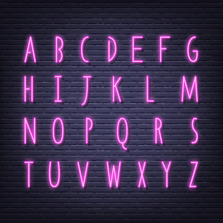neon letters signboard, vector glowing pink alphabet uppercase on brick wall background