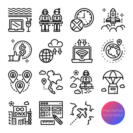 digital nomad outline icons, vector pixel perfect design, editable stroke Иллюстрация