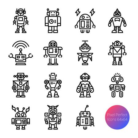 robot outline icons, vector pixel perfect design, editable stroke