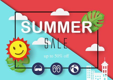 summer sale vector banner, modern design