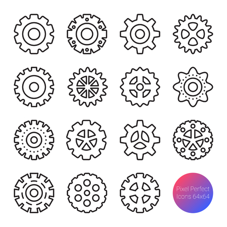 gear outline icons, vector pixel perfect design, editable stroke